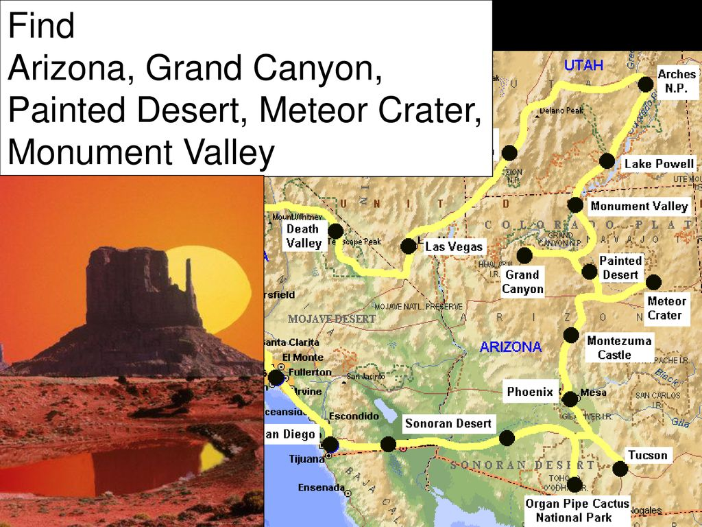 Meteor Crater Arizona Map.The Grand Canyon And The Natural Wonders Of Arizona Ppt Download