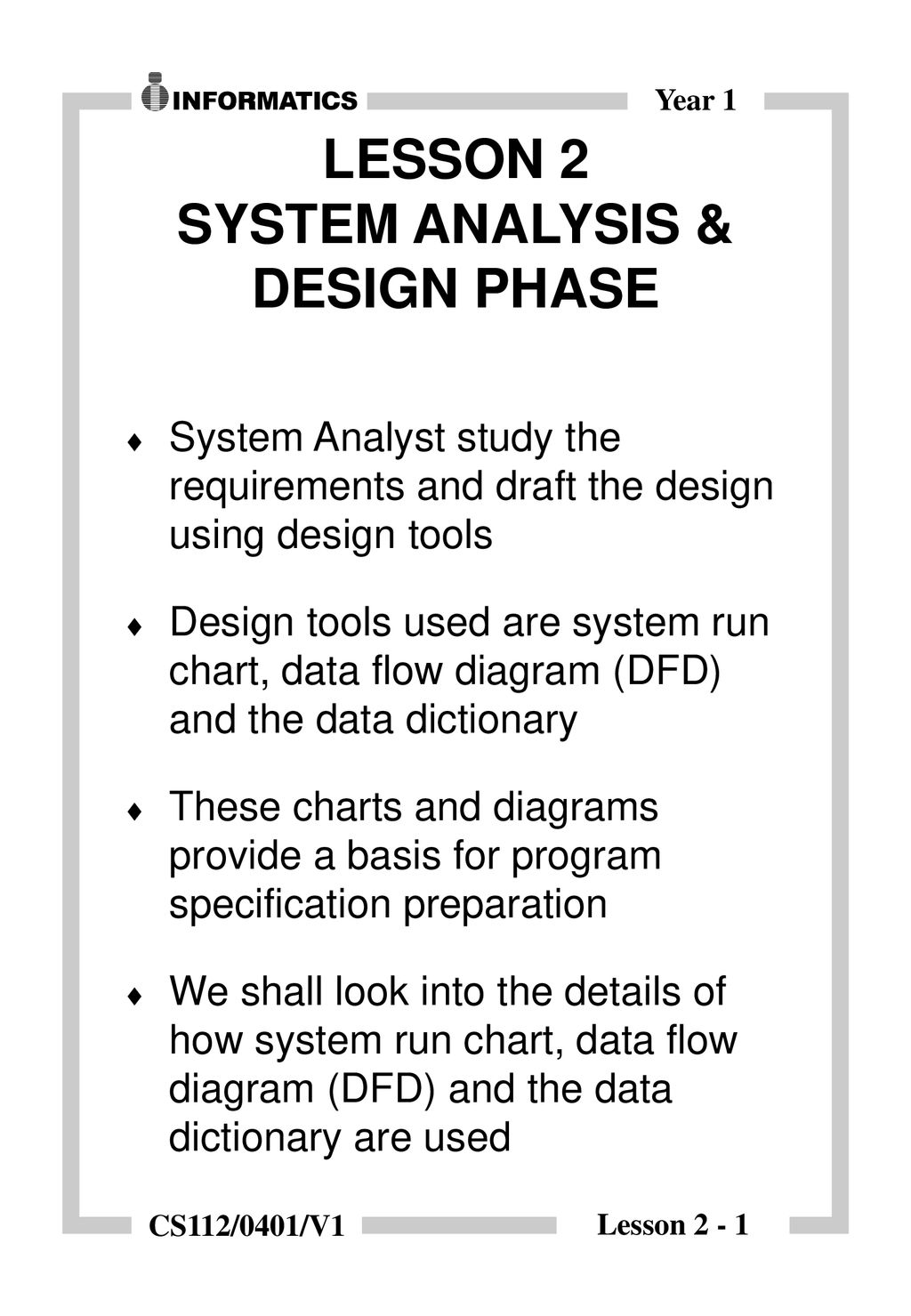 Lesson 2 System Analysis Design Phase Ppt Download