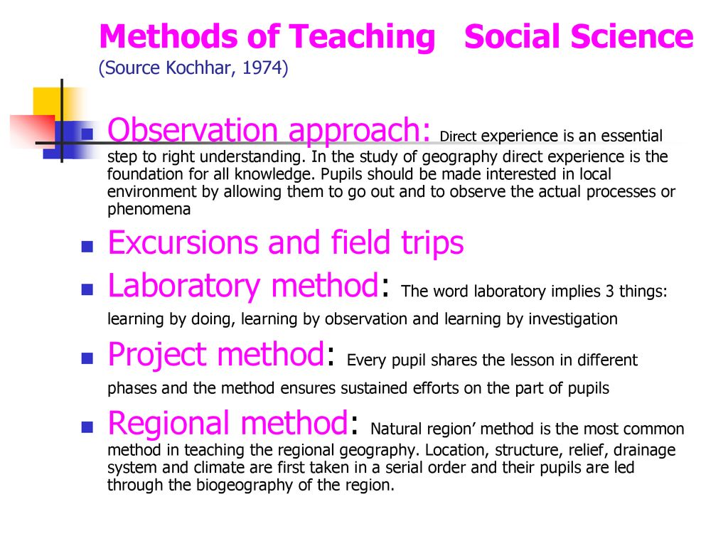 Different teaching methods in science