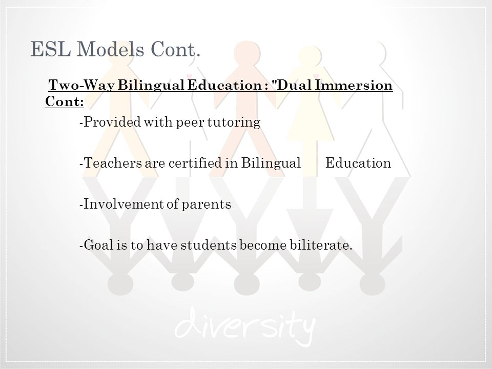 ESL Models Cont. Two-Way Bilingual Education : Dual Immersion Cont: