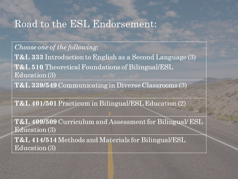 Road to the ESL Endorsement: