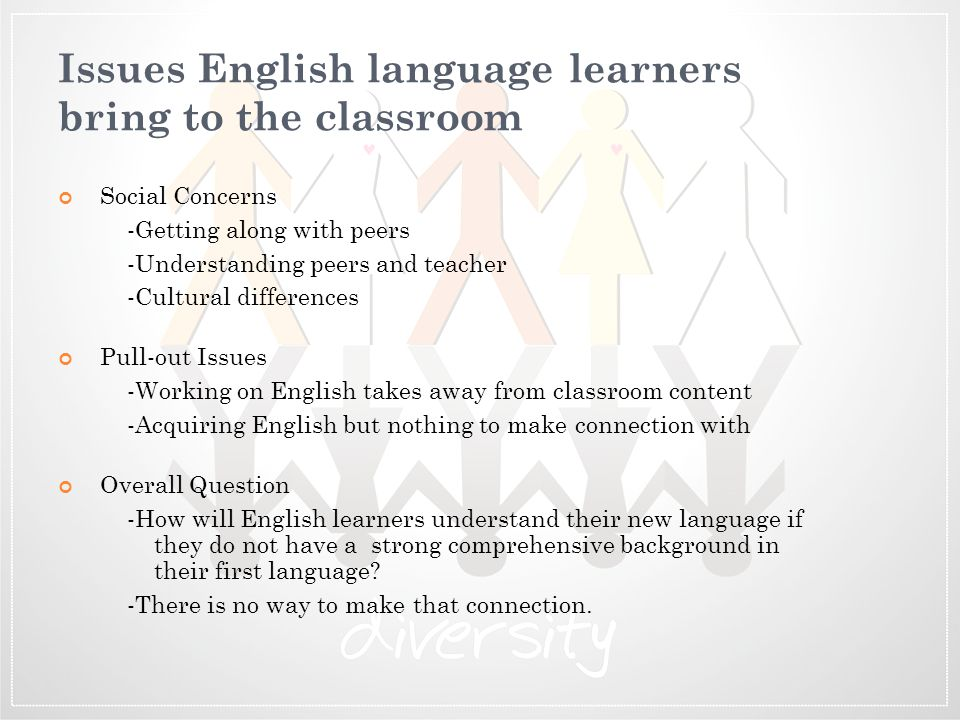 Issues English language learners bring to the classroom