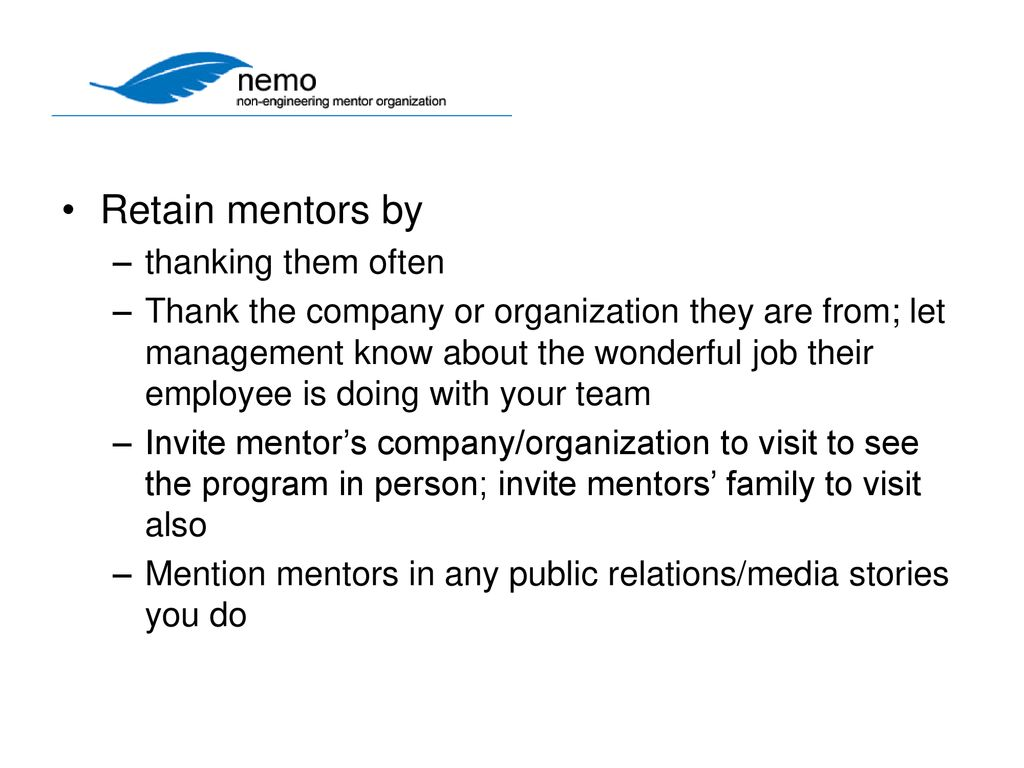 Non-Engineering Mentoring Kathie Kentfield, Co-Founder, NEMO