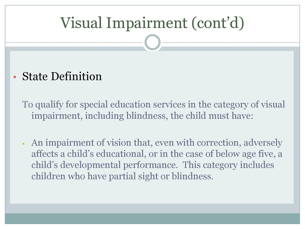 Verification Guidelines For Children With Visual Impairments
