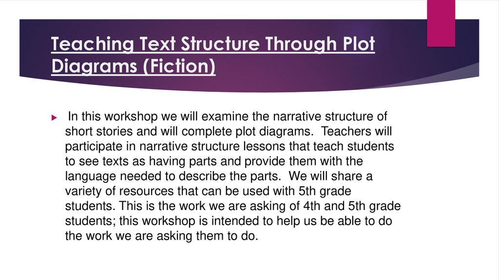 Teaching Text Structure Through Plot Diagrams (Fiction) - ppt download