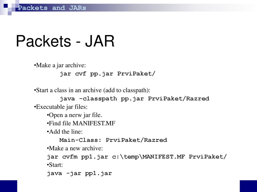 Programming I Packets and JAR 11th lecture  - ppt download
