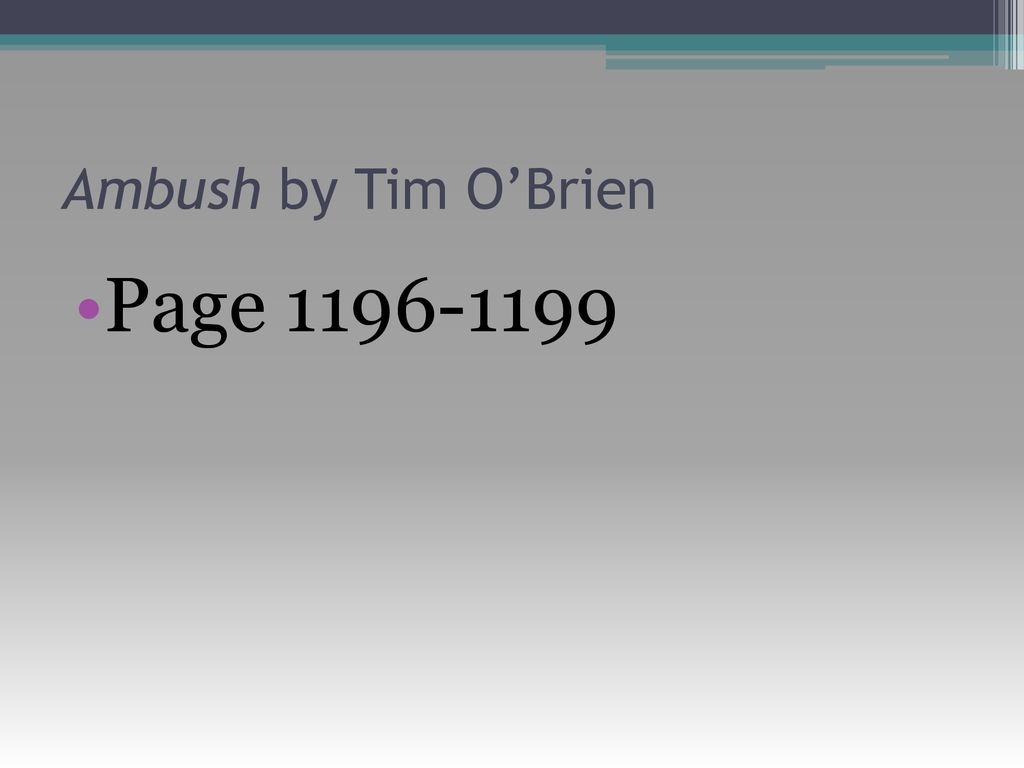 ambush by tim o brien summary