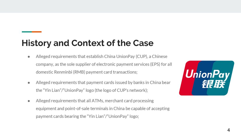 DS 413: U S  - China Electronic Payments (Panel 2012) - ppt download