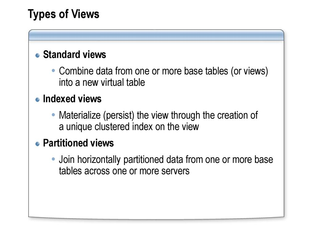 Module 7: Implementing Views - ppt download