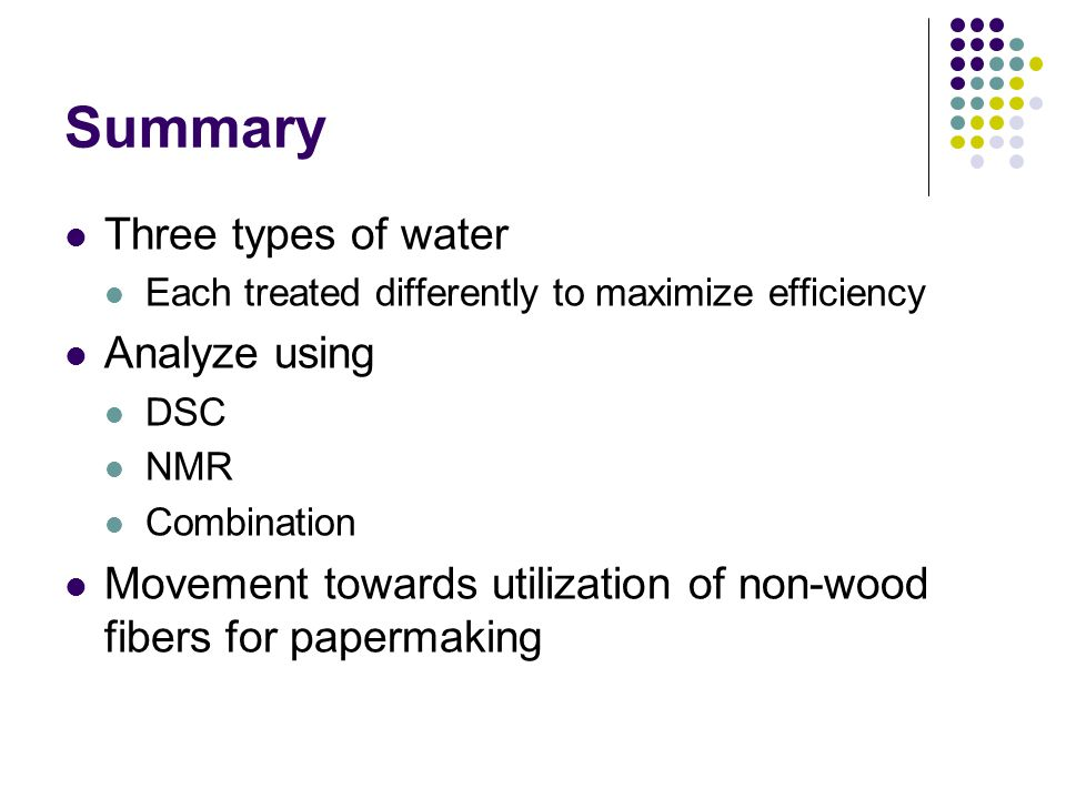 Summary Three types of water Analyze using