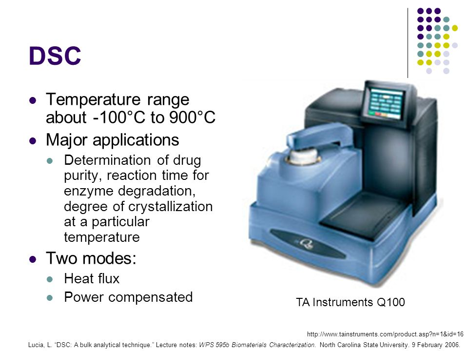 DSC Temperature range about -100°C to 900°C Major applications