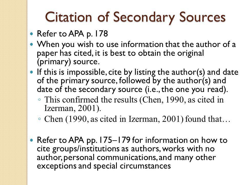 Citation of Secondary Sources