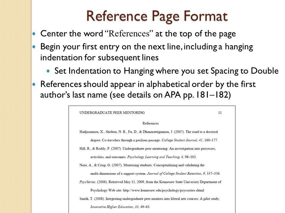 Reference Page Format Center the word References at the top of the page.