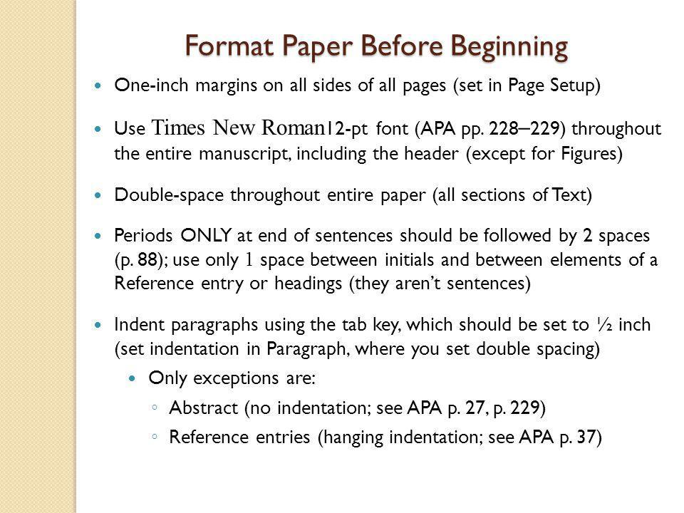 Format Paper Before Beginning