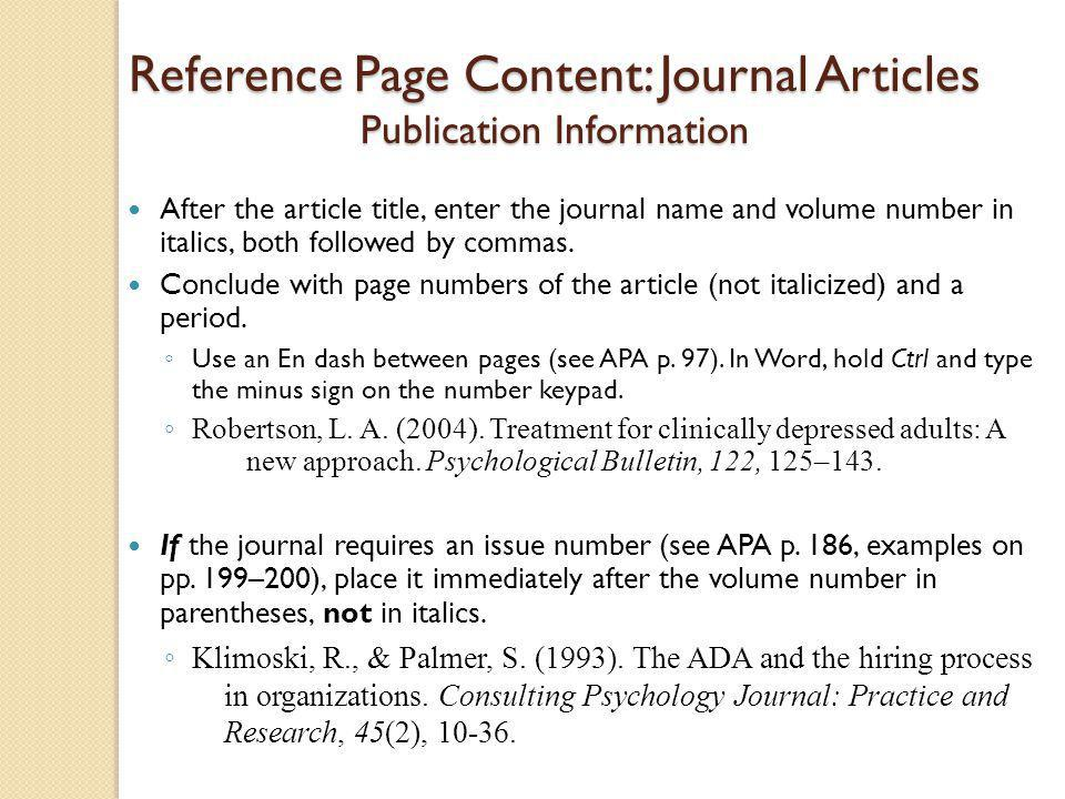 Reference Page Content: Journal Articles