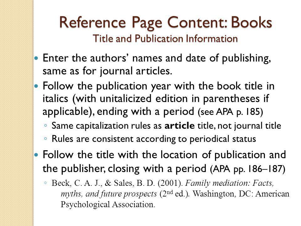 Reference Page Content: Books Title and Publication Information