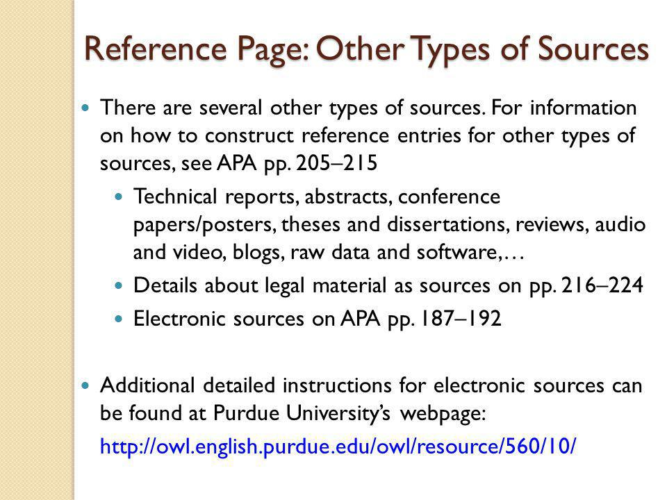 Reference Page: Other Types of Sources