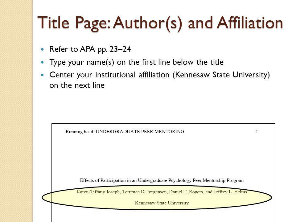 Title Page: Author(s) and Affiliation