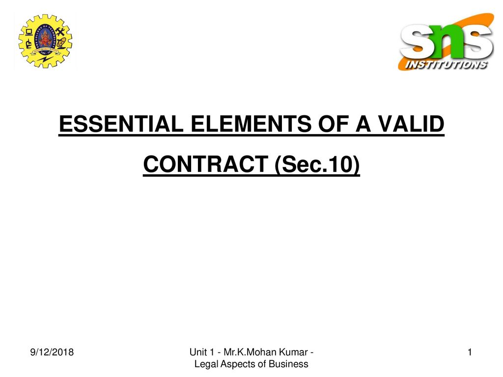 Essential Elements Of A Valid Contract Sec 10