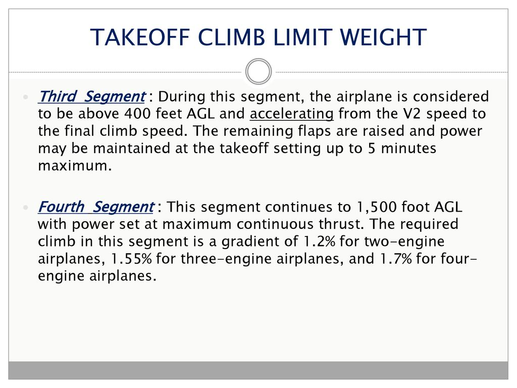 TAKEOFF PERFORMANCE The performance data for takeoff and
