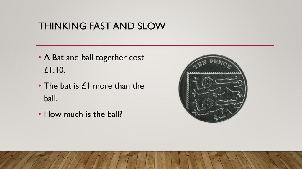 Thinking Fast And Slow A Bat Ball Together Cost 1 10