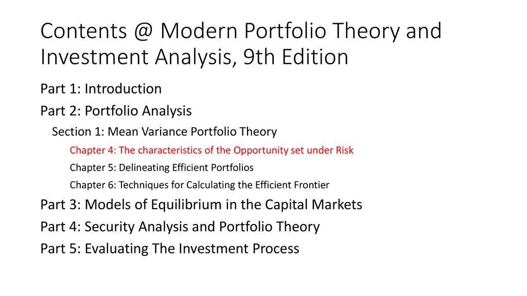 Portfolio Theory And Investment Analysis Ppt Download