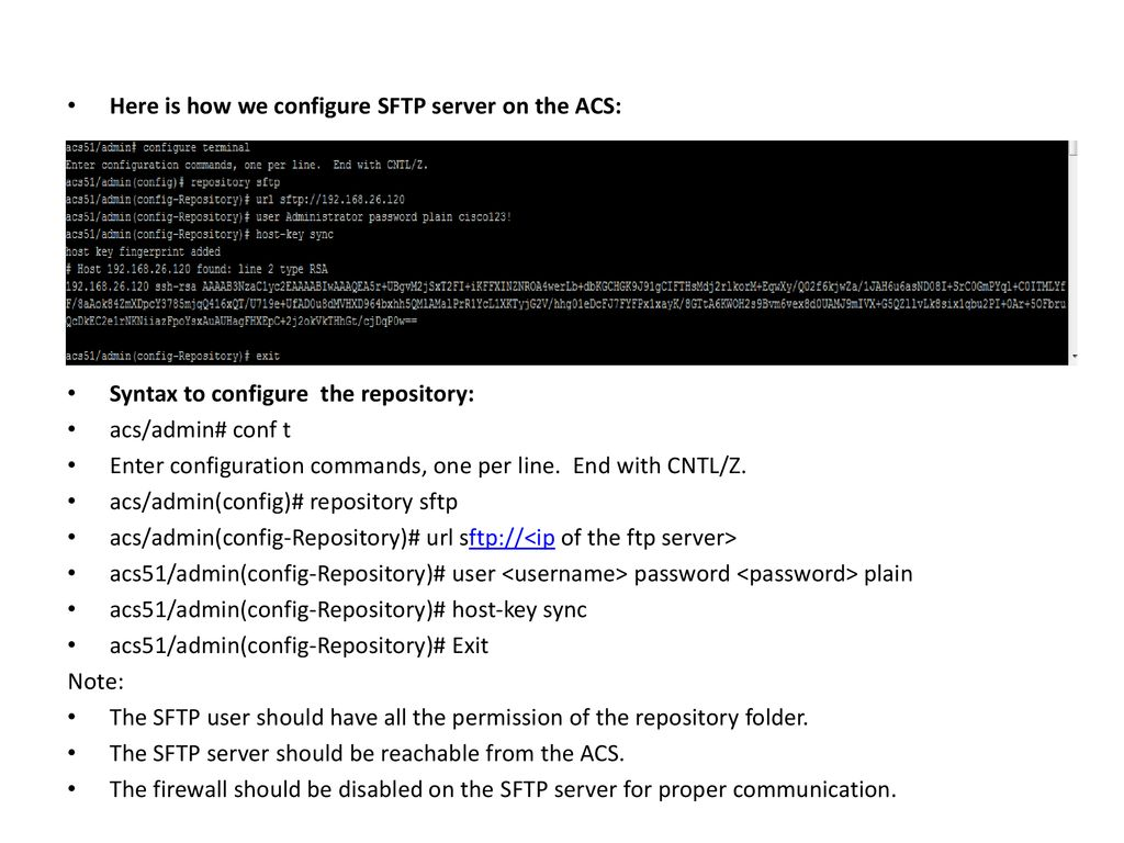 Working of SFTP server with ACS 5 x - ppt download