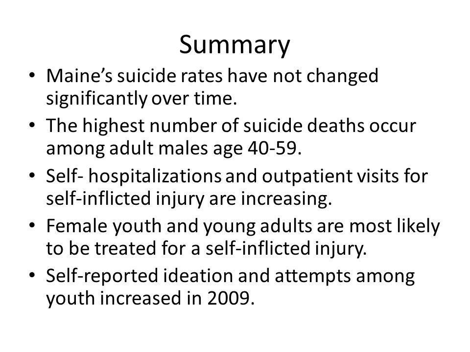 Summary Maine's suicide rates have not changed significantly over time. The highest number of suicide deaths occur among adult males age 40-59.