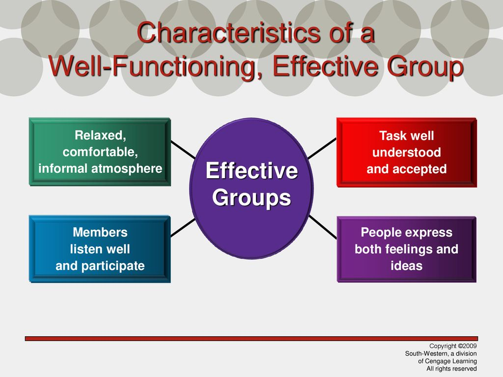 Characteristics of a Well-Functioning, Effective Group