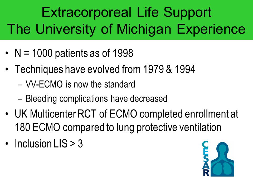 Extracorporeal Life Support The University of Michigan Experience