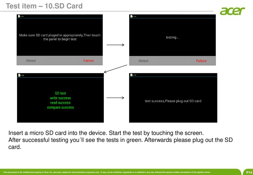 Afterwards Please Plug Out The Sd Card Test Item 10 Insert A Micro Into Device