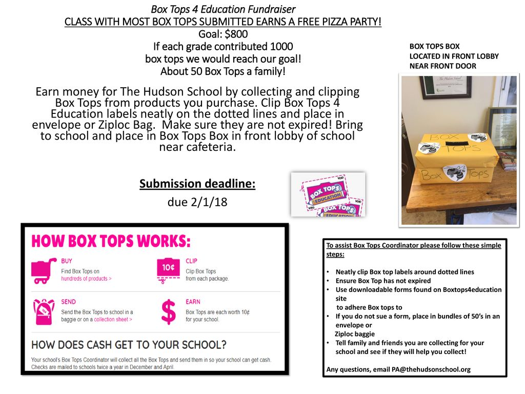 Box Tops 4 Education Fundraiser Class With Most Box Tops Submitted