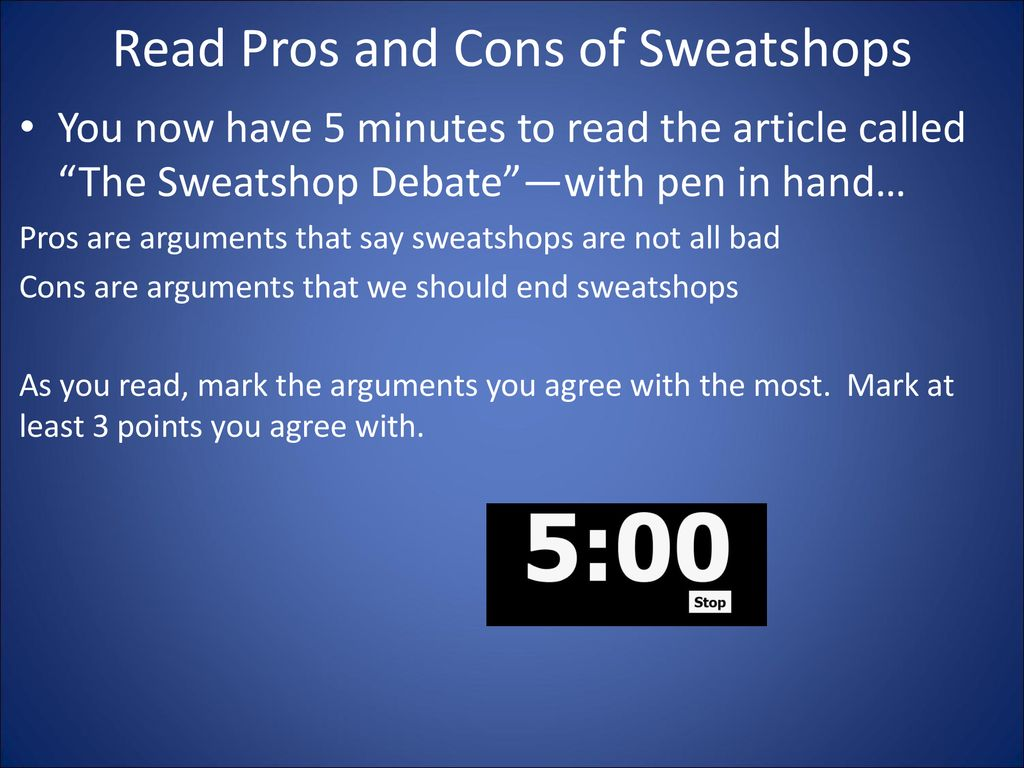 pros and cons of sweatshops