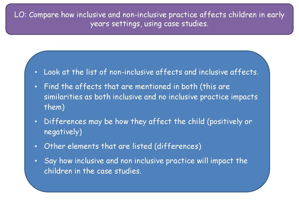 compare inclusive and non inclusive practice
