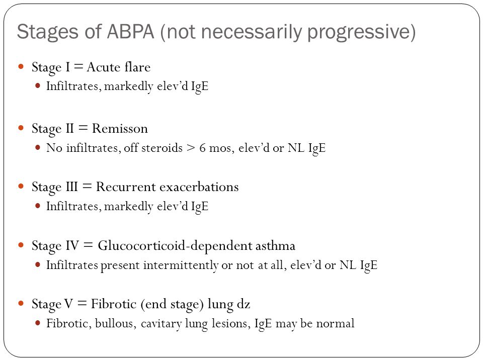 Stages of ABPA (not necessarily progressive)