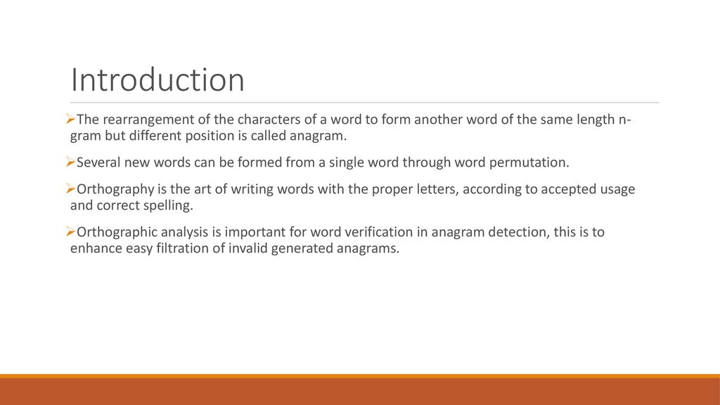 Orthographic Analysis Of Anagram Through Anagram Detection Measures