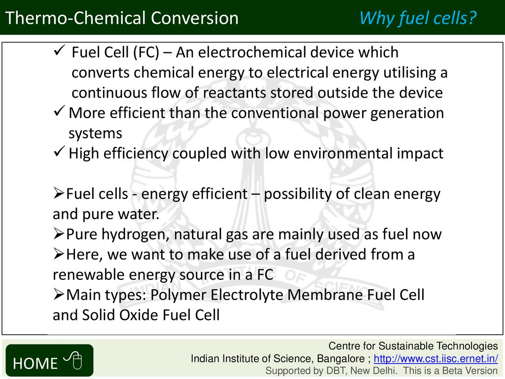 Solid Oxide Fuel Cells Thermo-Chemical Conversion HOME ppt