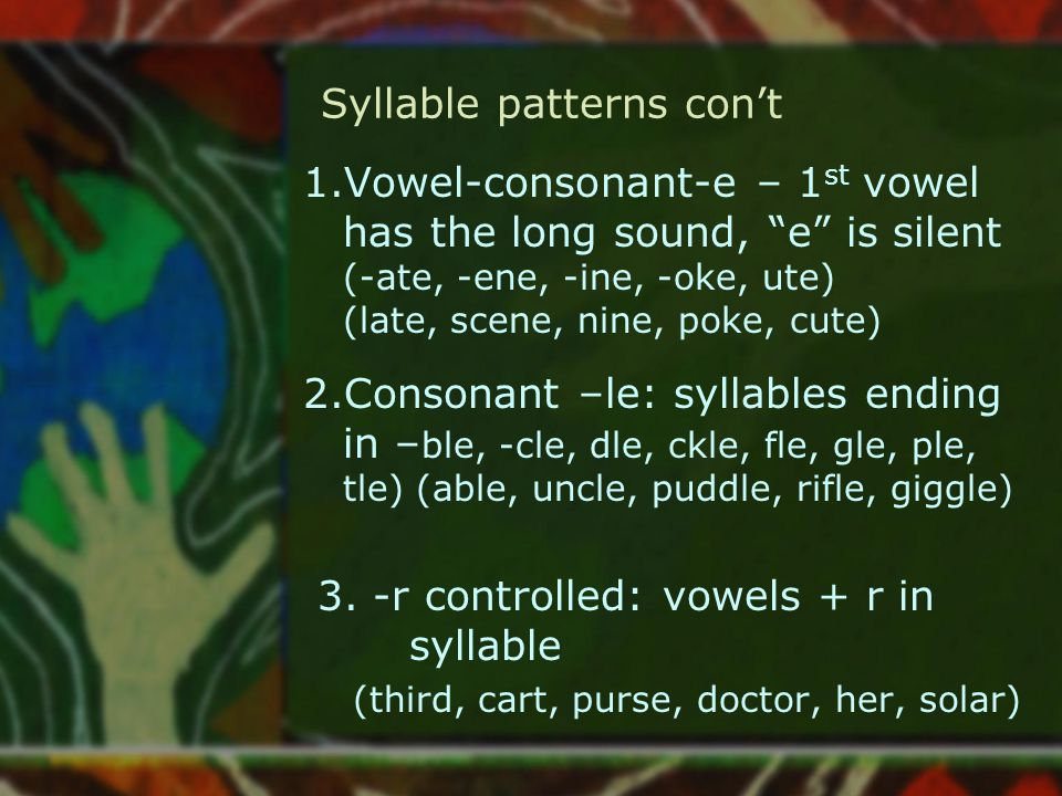 Syllable patterns con't