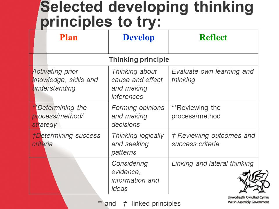 Selected developing thinking principles to try: