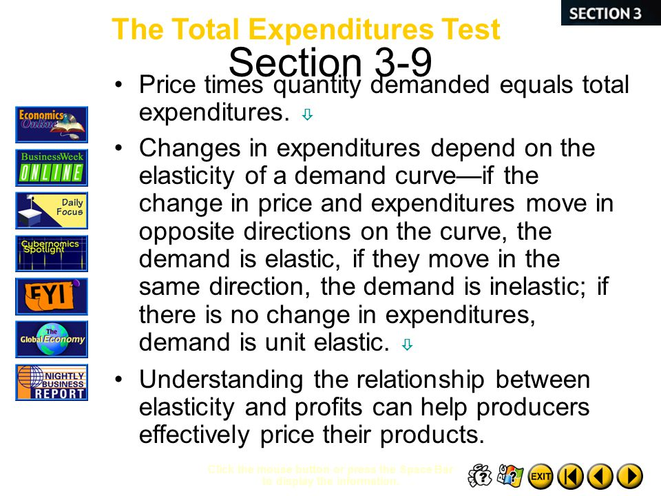 Section 3-9 The Total Expenditures Test