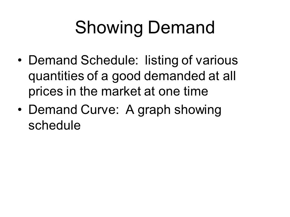 Showing Demand Demand Schedule: listing of various quantities of a good demanded at all prices in the market at one time.