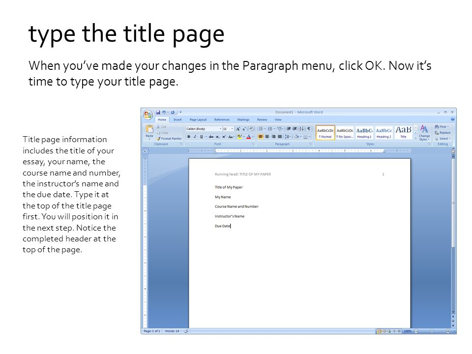 microsoft word title page
