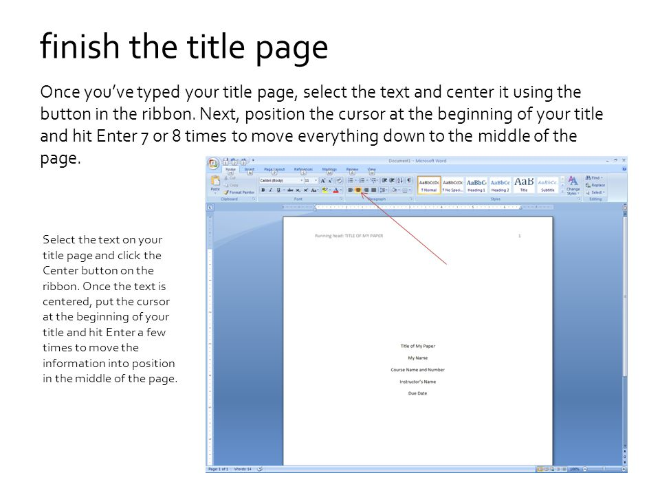 what to put on a title page