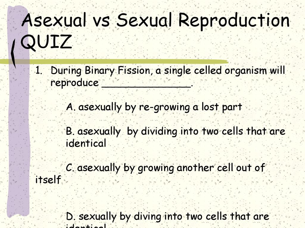 Asexual and sexual reproduction quizzes for couples