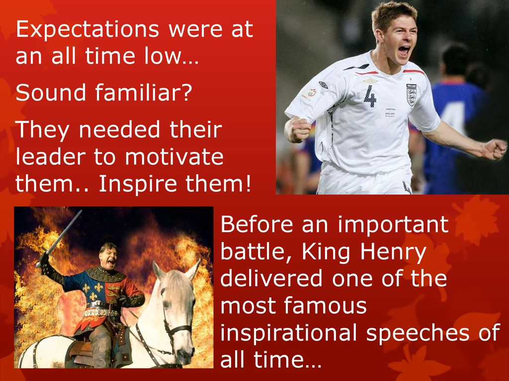 Rallying the troops Imagine: you are the England manager