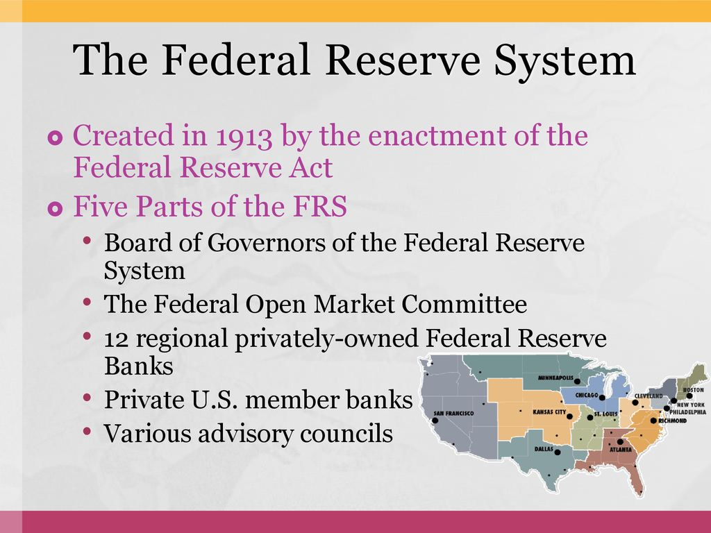 Historical View over The U S  Federal Reserve Bank - ppt