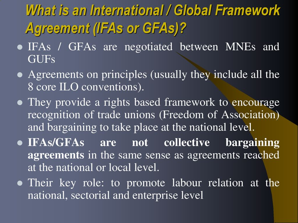 Ilo Actrav International Global Framework Agreements The Labor