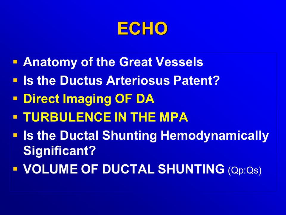ECHO Anatomy of the Great Vessels Is the Ductus Arteriosus Patent