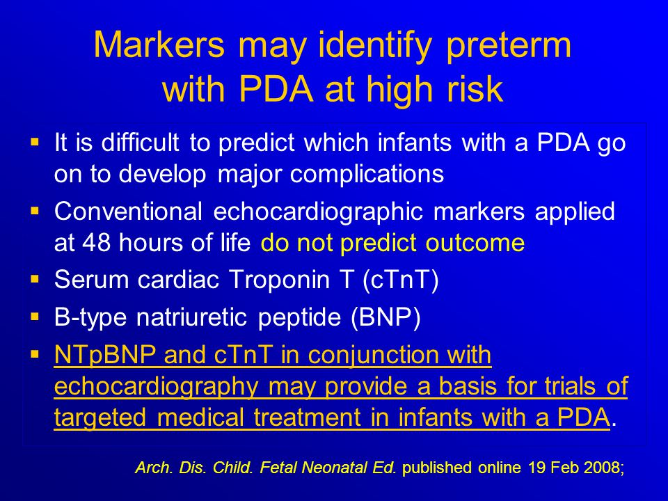Markers may identify preterm with PDA at high risk