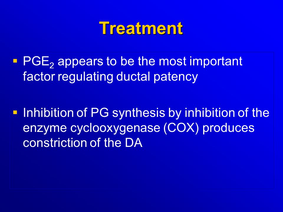 Treatment PGE2 appears to be the most important factor regulating ductal patency.